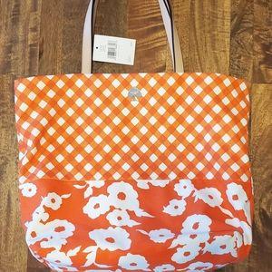NWT Kate Spade Orange and White Canvas Tote